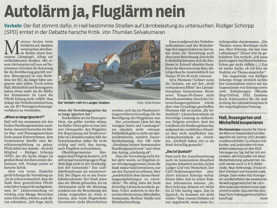 Bericht Haller Tagblatt vom 15. Februar 2018: Autolärm ja, Fluglärm nein