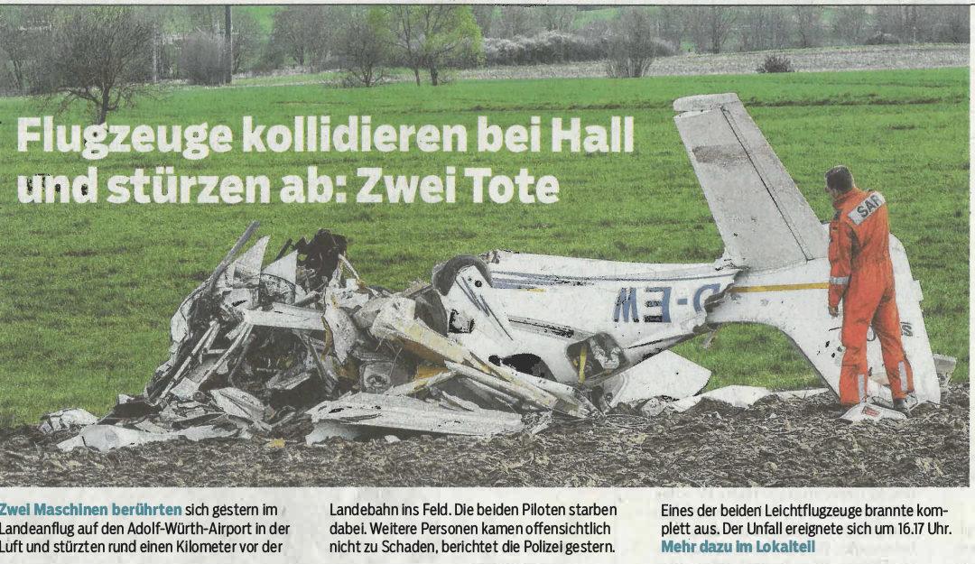 Bericht Haller Tagblatt vom 16. April 2018: Zwei Tote bei Flugzeugabsturz
