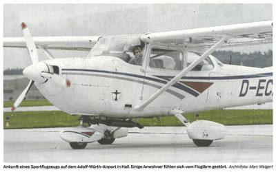 Bericht Haller Tagblatt vom 3. Mai 2018: Offener Brief und Anfrage: Wie gefährlich ist der Luftverkehr?