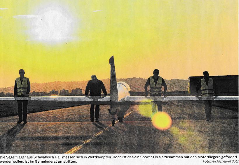 Bericht Haller Tagblatt vom 19. März 2019: Debatte über Fliegerei in Hall: elitäres Hobby oder Sport?